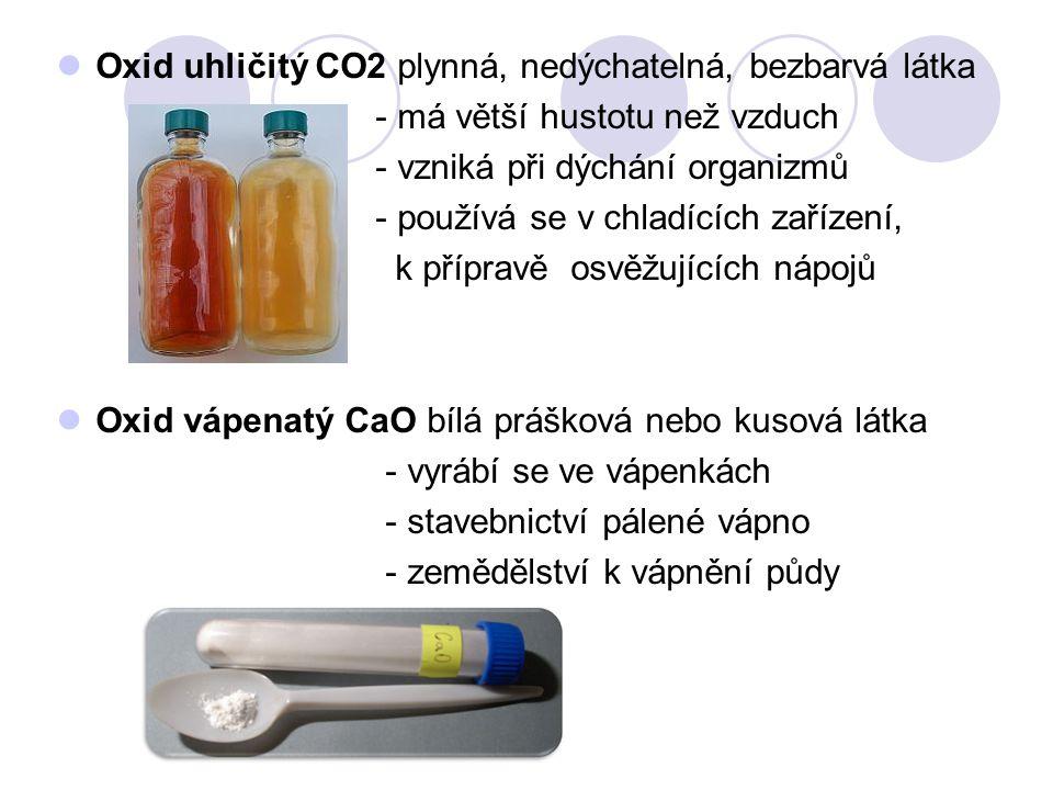 Oxid uhličitý CO2 plynná, nedýchatelná, bezbarvá látka