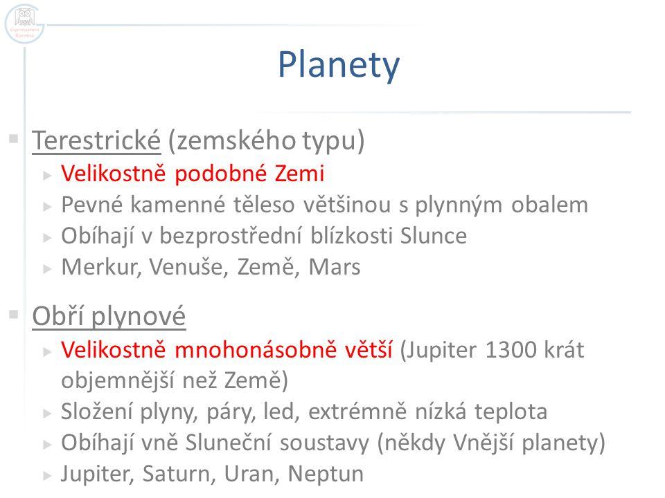 Planety Terestrické (zemského typu) Obří plynové