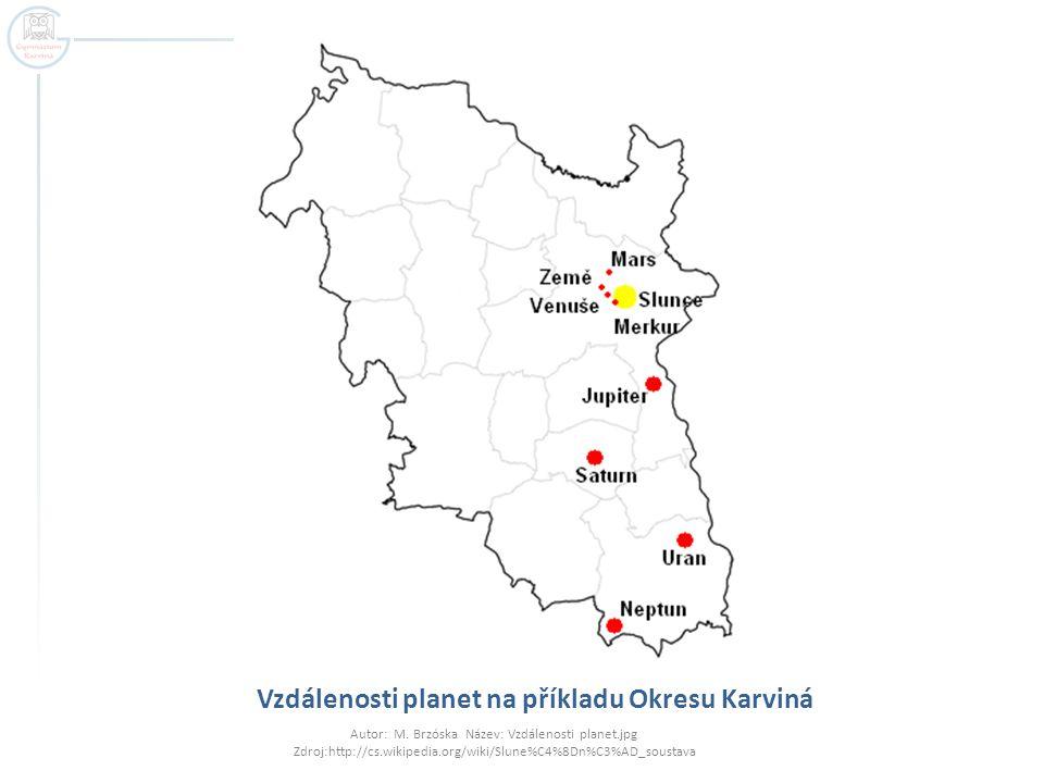 Vzdálenosti planet na příkladu Okresu Karviná