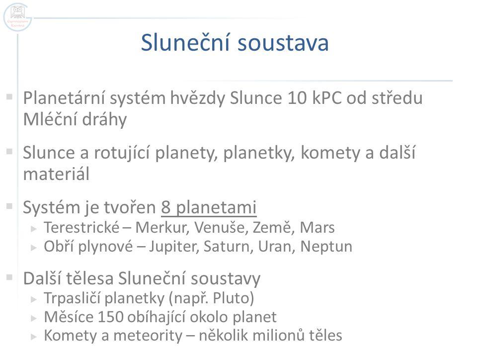 Sluneční soustava Planetární systém hvězdy Slunce 10 kPC od středu Mléční dráhy. Slunce a rotující planety, planetky, komety a další materiál.