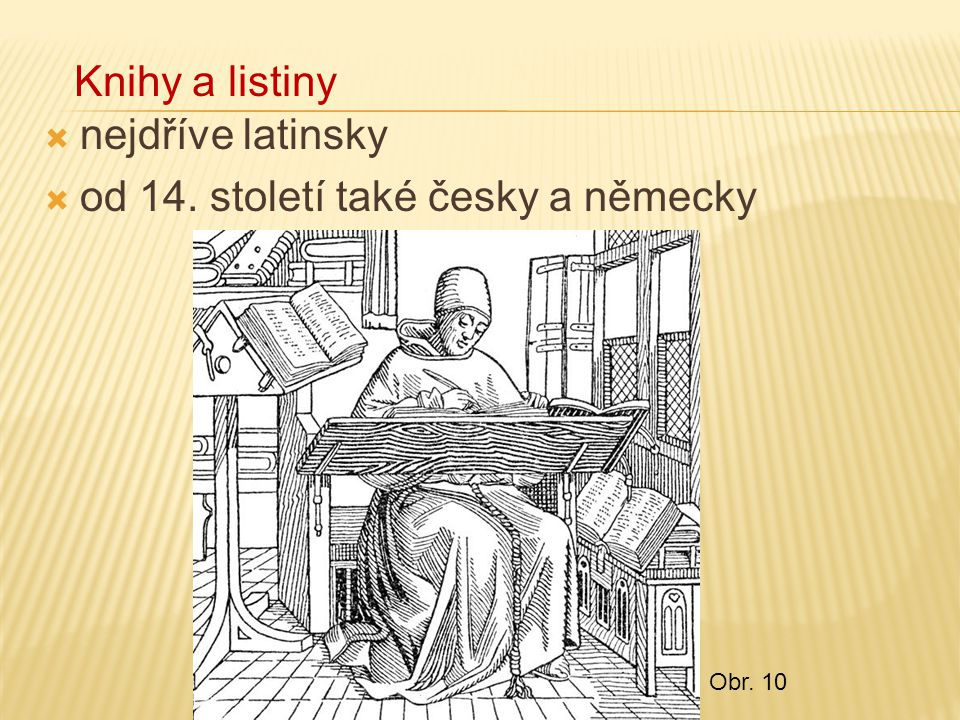 od 14. století také česky a německy