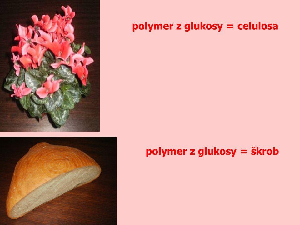 polymer z glukosy = celulosa polymer z glukosy = škrob