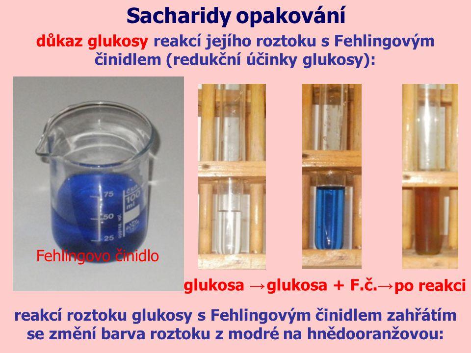Sacharidy opakování důkaz glukosy reakcí jejího roztoku s Fehlingovým činidlem (redukční účinky glukosy):