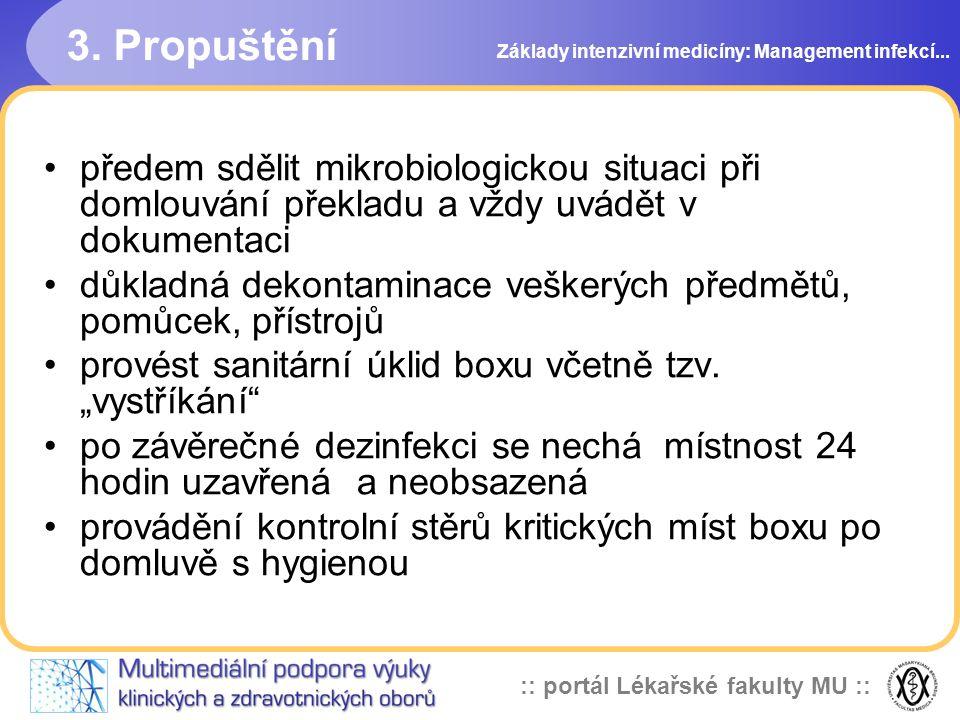 3. Propuštění Základy intenzivní medicíny: Management infekcí...