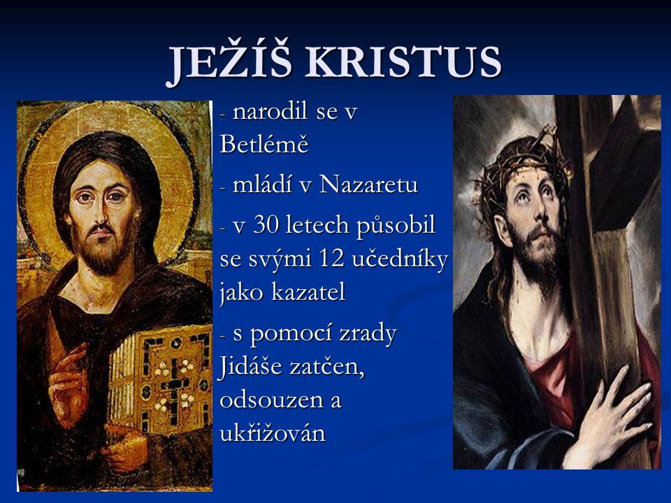 JEŽÍŠ KRISTUS narodil se v Betlémě mládí v Nazaretu