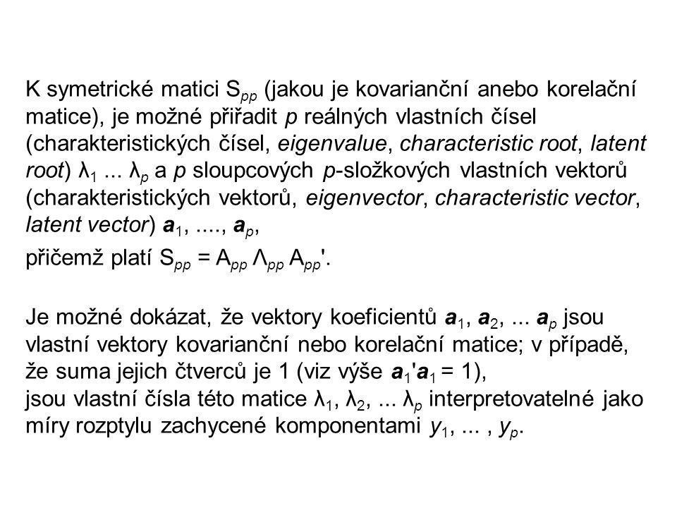 K symetrické matici Spp (jakou je kovarianční anebo korelační matice), je možné přiřadit p reálných vlastních čísel (charakteristických čísel, eigenvalue, characteristic root, latent root) λ1 ... λp a p sloupcových p-složkových vlastních vektorů (charakteristických vektorů, eigenvector, characteristic vector, latent vector) a1, ...., ap,