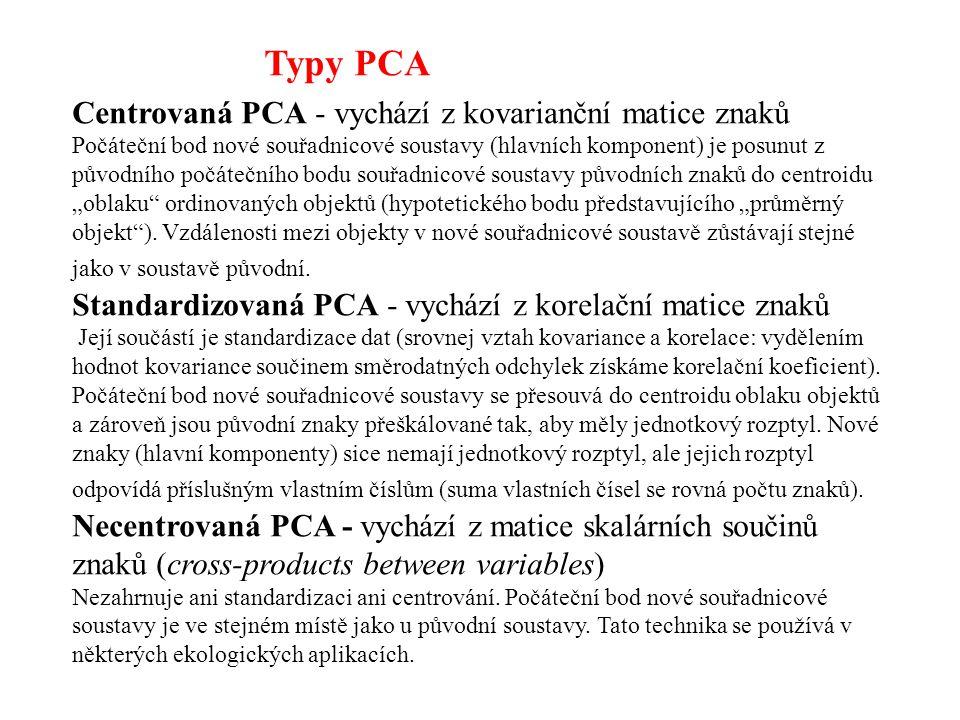 Typy PCA Centrovaná PCA - vychází z kovarianční matice znaků
