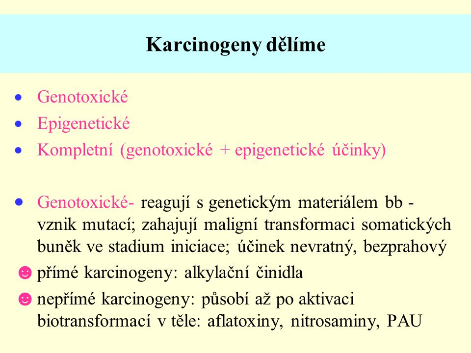 Karcinogeny dělíme Genotoxické Epigenetické
