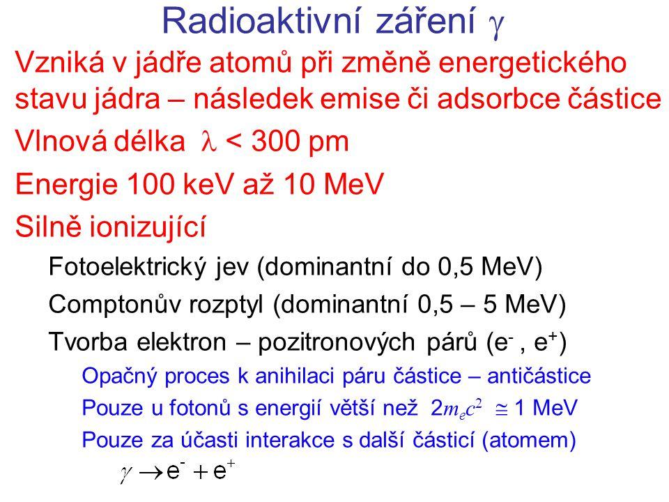 Radioaktivní záření  Vzniká v jádře atomů při změně energetického stavu jádra – následek emise či adsorbce částice.