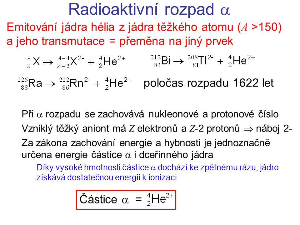 Radioaktivní rozpad  Emitování jádra hélia z jádra těžkého atomu (A >150) a jeho transmutace = přeměna na jiný prvek.