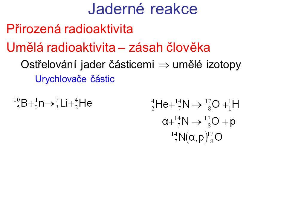 Jaderné reakce Přirozená radioaktivita