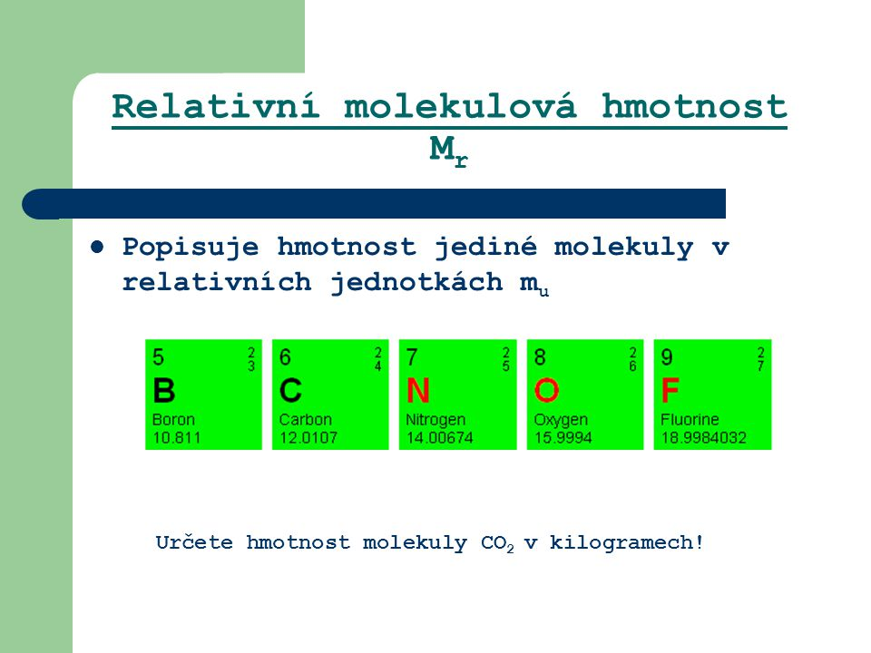 Relativní molekulová hmotnost Mr
