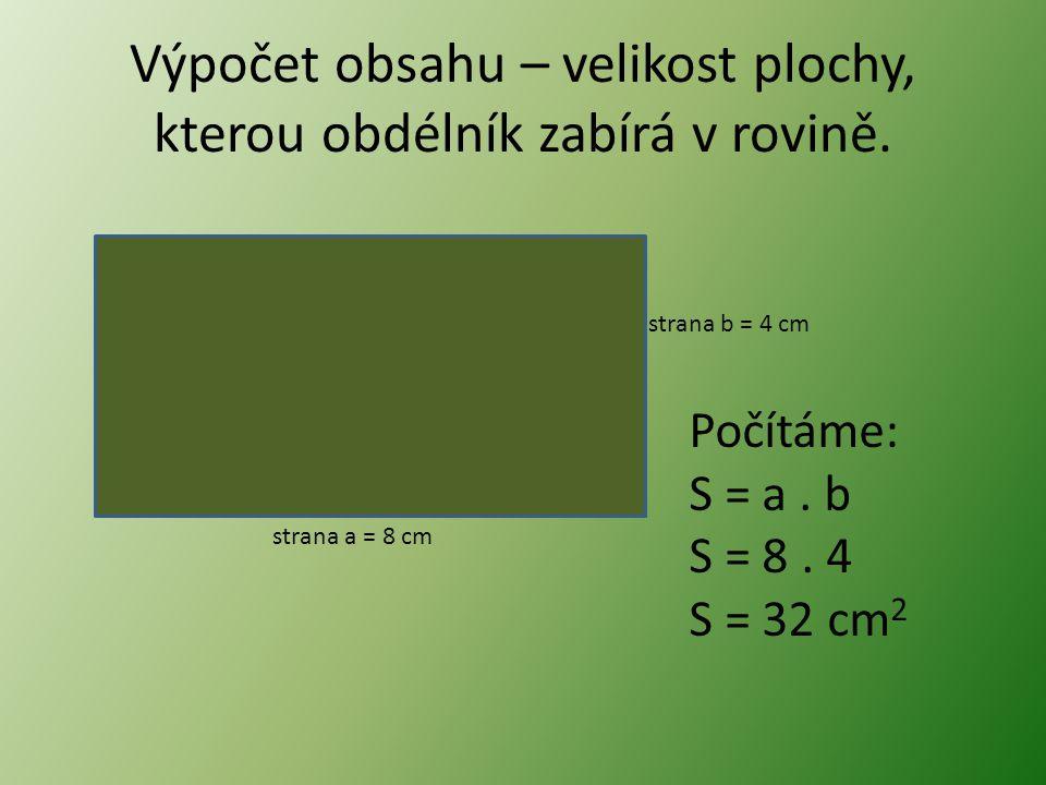 Výpočet obsahu – velikost plochy, kterou obdélník zabírá v rovině.