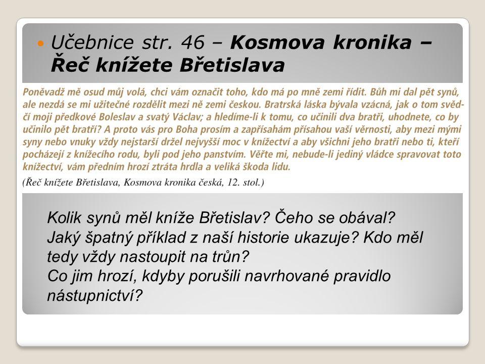 Učebnice str. 46 – Kosmova kronika – Řeč knížete Břetislava