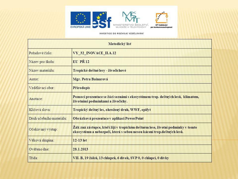 Metodický list Pořadové číslo: VY_32_INOVACE_II.A.12. Název pro školu: EU PŘ 12. Název materiálu: