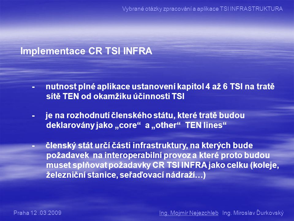 Implementace CR TSI INFRA