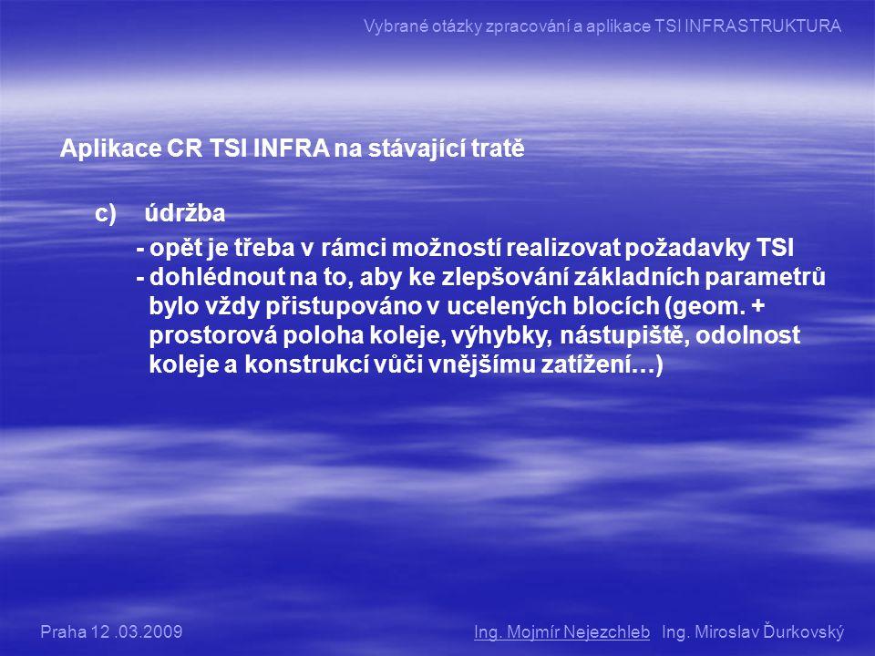Aplikace CR TSI INFRA na stávající tratě