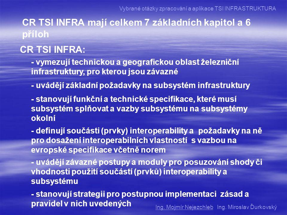 CR TSI INFRA mají celkem 7 základních kapitol a 6 příloh