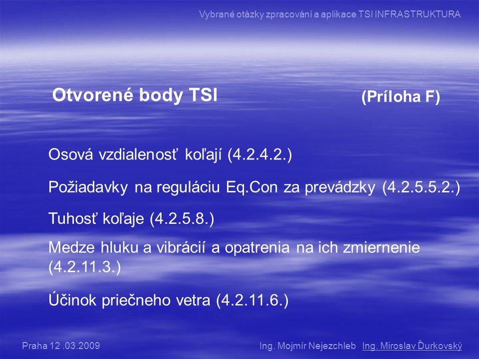 Otvorené body TSI (Príloha F) Osová vzdialenosť koľají (4.2.4.2.)