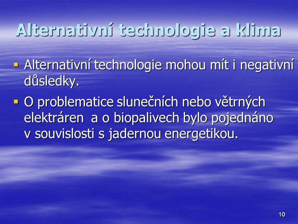 Alternativní technologie a klima