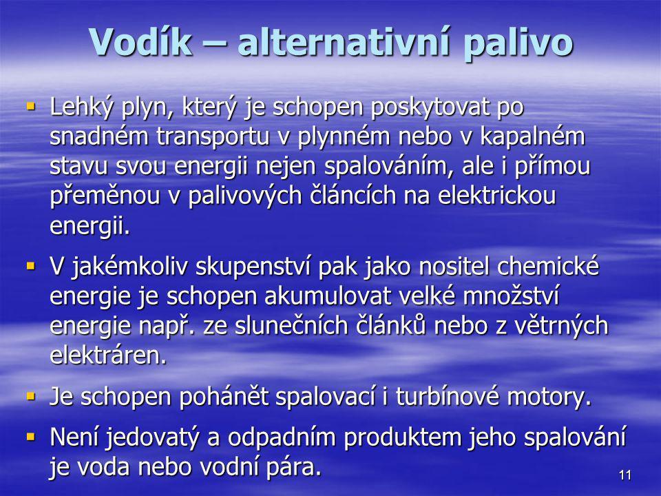 Vodík – alternativní palivo