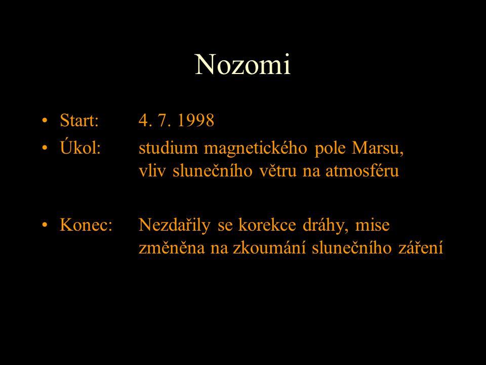 Nozomi Start: 4. 7. 1998. Úkol: studium magnetického pole Marsu, vliv slunečního větru na atmosféru.