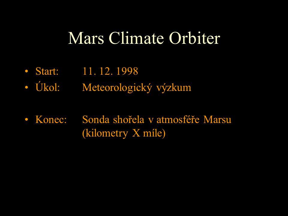 Mars Climate Orbiter Start: 11. 12. 1998 Úkol: Meteorologický výzkum
