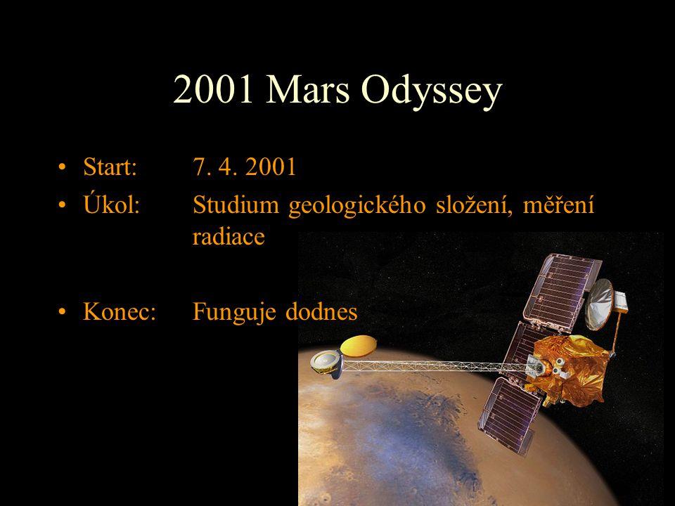 2001 Mars Odyssey Start: 7. 4. 2001. Úkol: Studium geologického složení, měření radiace.