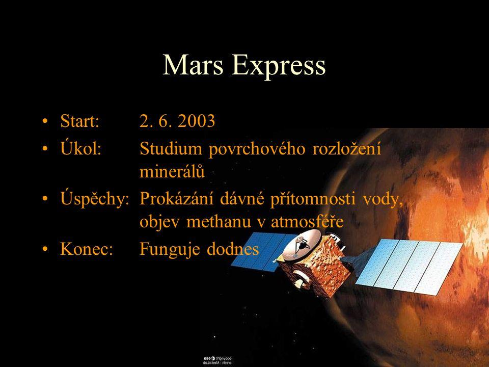 Mars Express Start: 2. 6. 2003. Úkol: Studium povrchového rozložení minerálů.