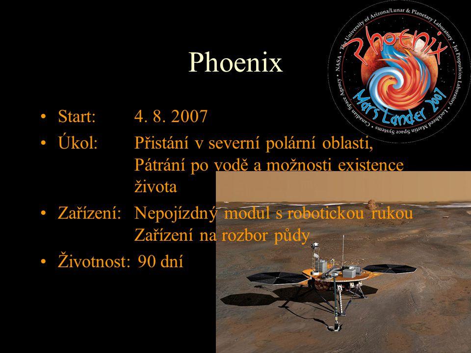 Phoenix Start: 4. 8. 2007. Úkol: Přistání v severní polární oblasti, Pátrání po vodě a možnosti existence života.