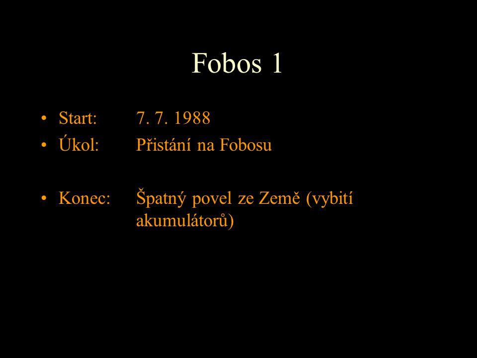 Fobos 1 Start: 7. 7. 1988 Úkol: Přistání na Fobosu
