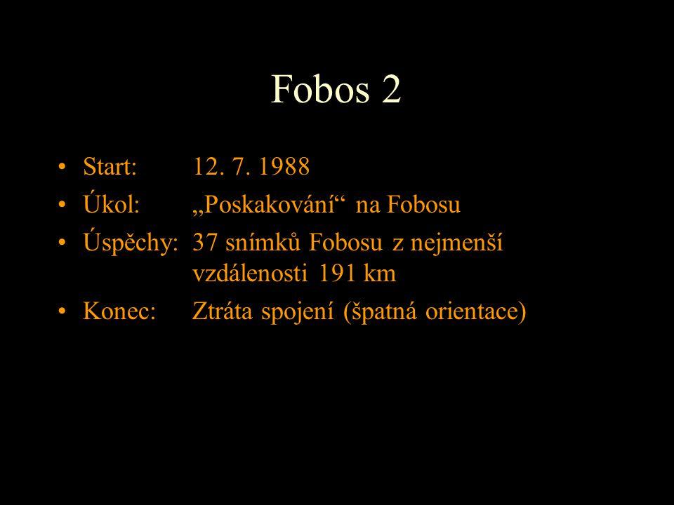 """Fobos 2 Start: 12. 7. 1988 Úkol: """"Poskakování na Fobosu"""