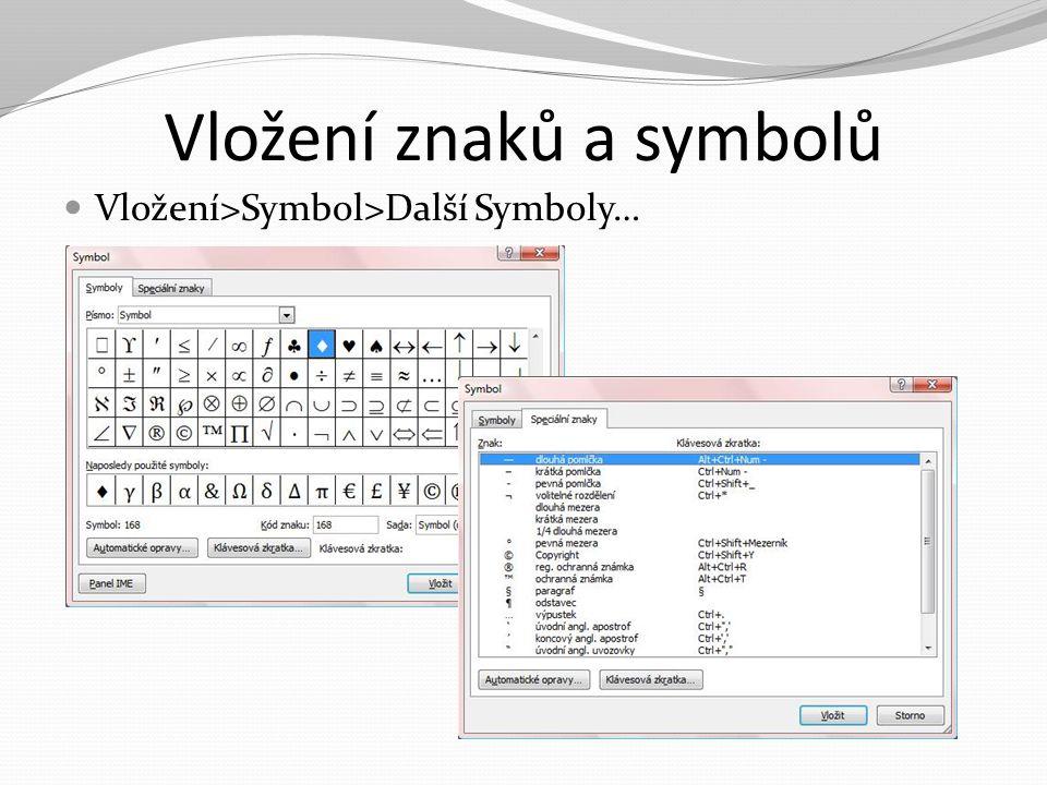 Vložení znaků a symbolů