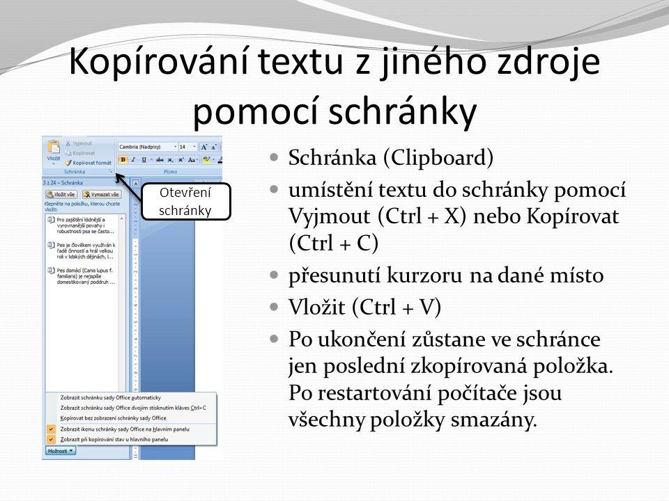 Kopírování textu z jiného zdroje pomocí schránky