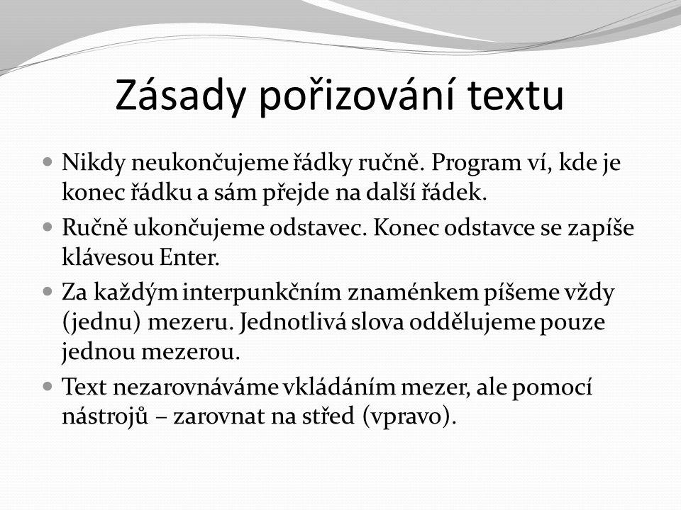 Zásady pořizování textu