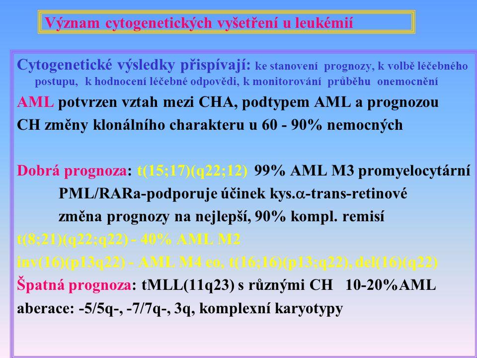 Význam cytogenetických vyšetření u leukémií