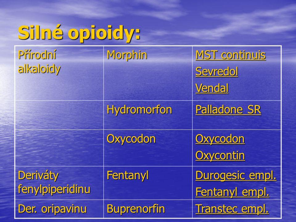 Silné opioidy: Přírodní alkaloidy Morphin MST continuis Sevredol