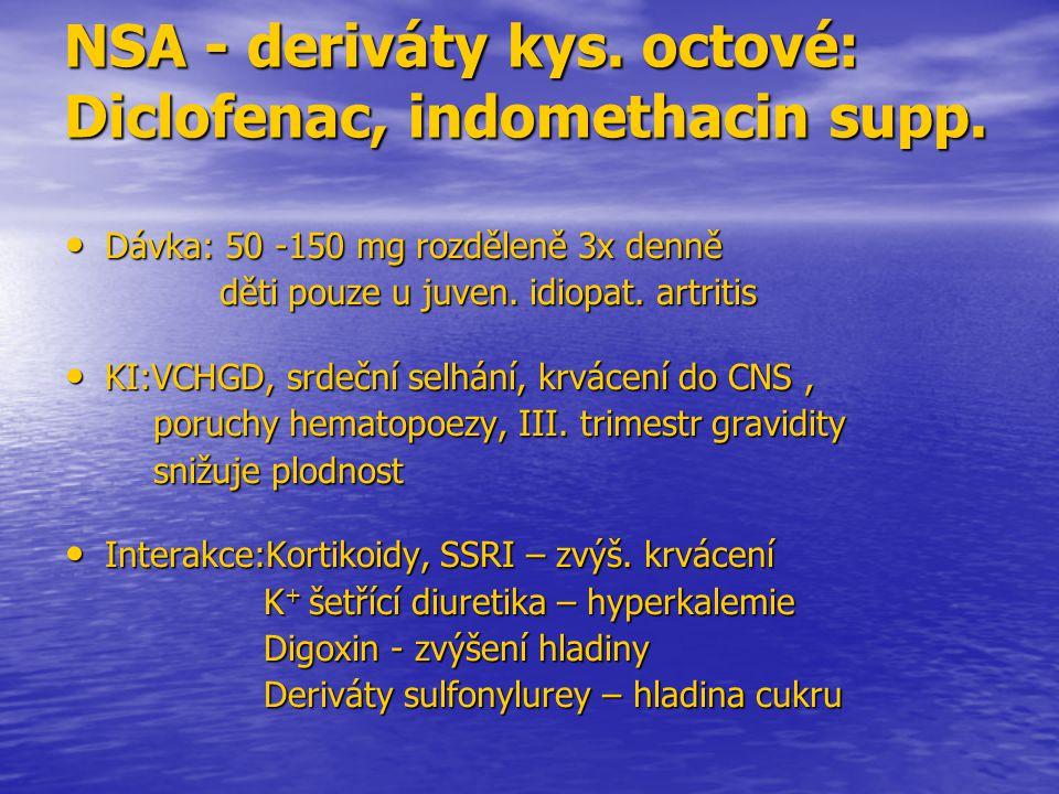 NSA - deriváty kys. octové: Diclofenac, indomethacin supp.