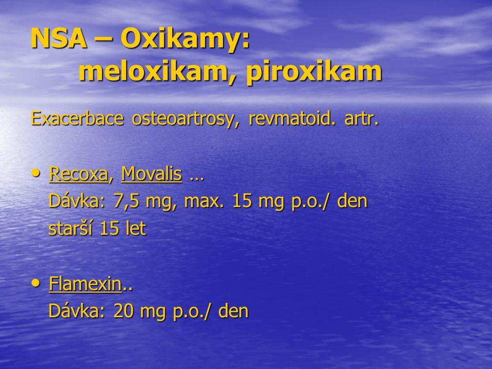 NSA – Oxikamy: meloxikam, piroxikam