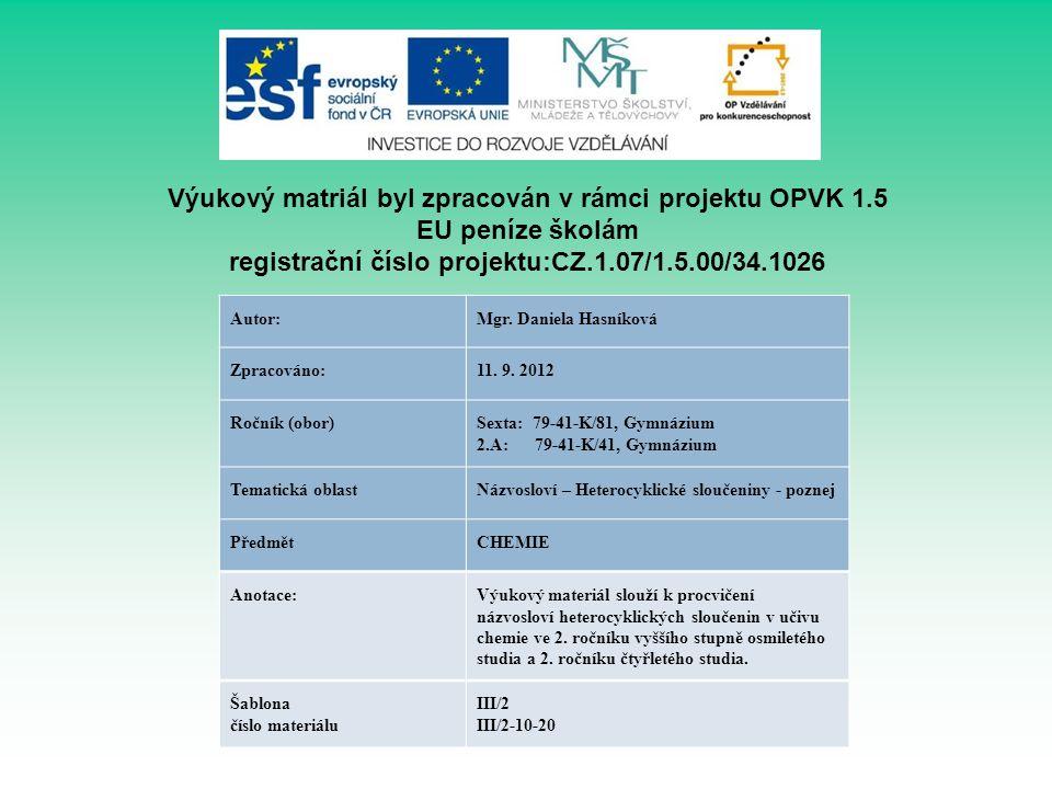 Výukový matriál byl zpracován v rámci projektu OPVK 1