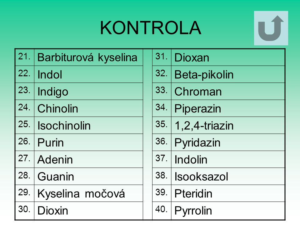KONTROLA Dioxan Indol Beta-pikolin Indigo Chroman Chinolin Piperazin