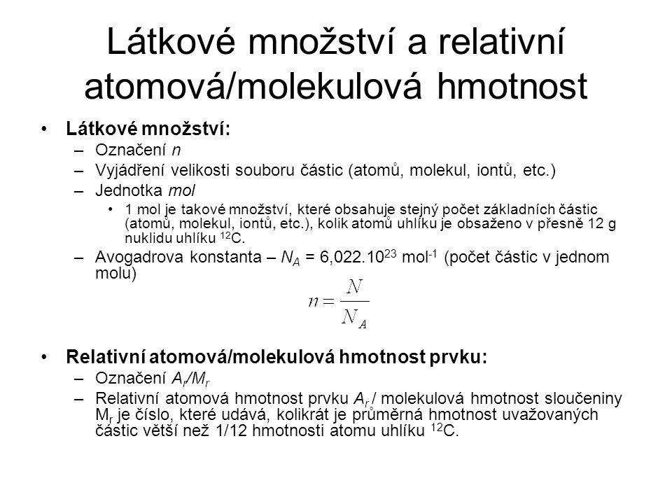 Látkové množství a relativní atomová/molekulová hmotnost