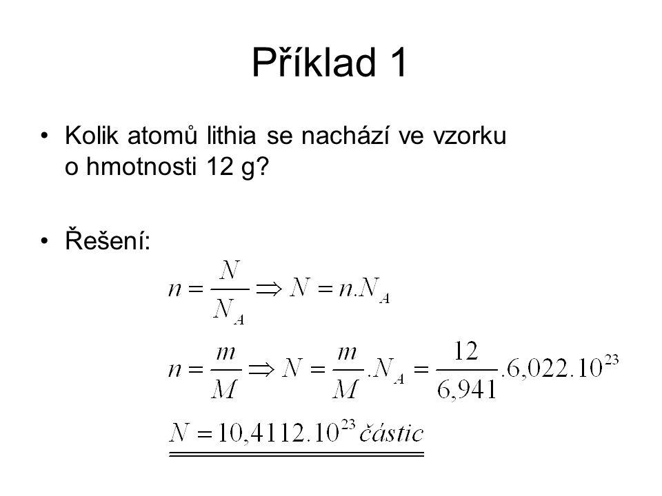 Příklad 1 Kolik atomů lithia se nachází ve vzorku o hmotnosti 12 g