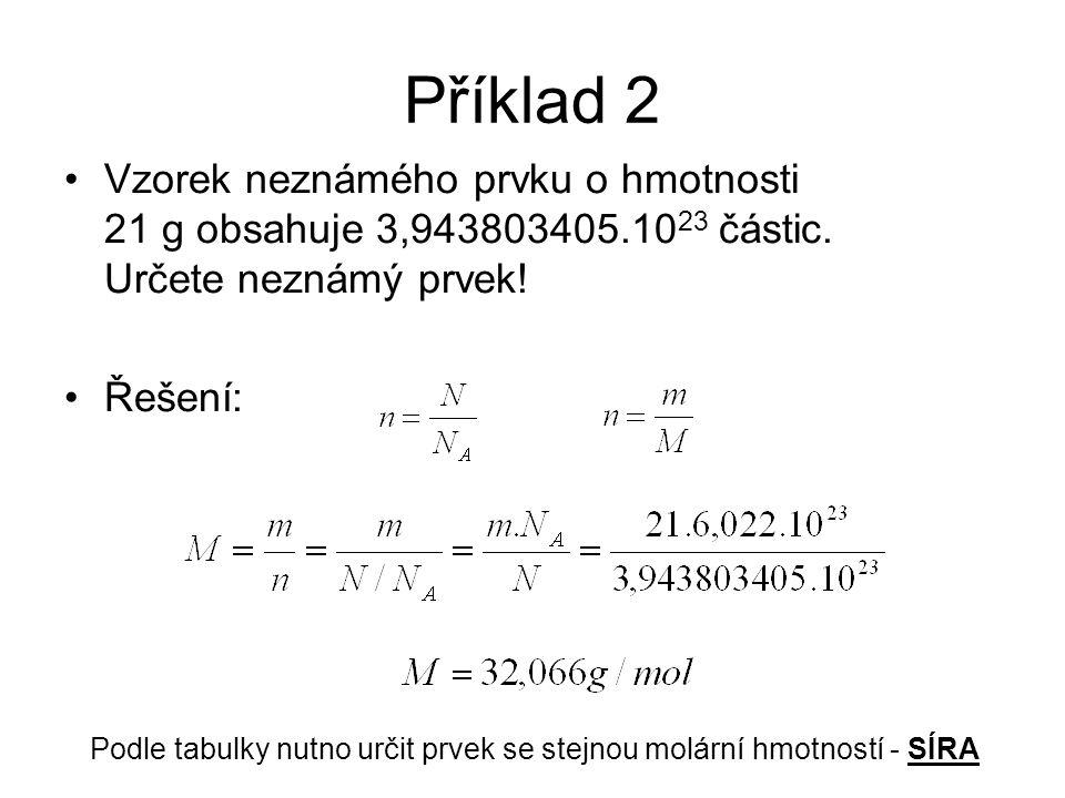 Příklad 2 Vzorek neznámého prvku o hmotnosti 21 g obsahuje 3,943803405.1023 částic. Určete neznámý prvek!