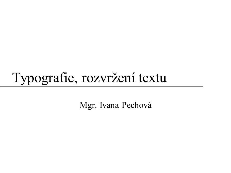 Typografie, rozvržení textu