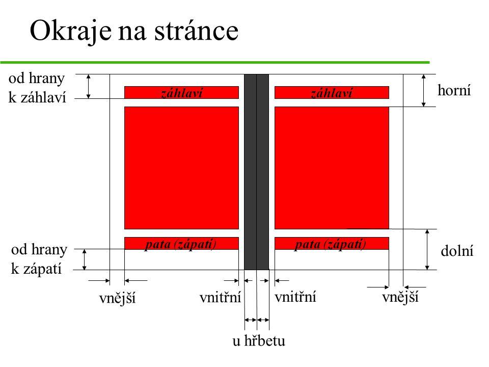 Okraje na stránce od hrany k záhlaví horní od hrany k zápatí dolní