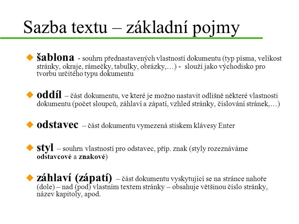 Sazba textu – základní pojmy