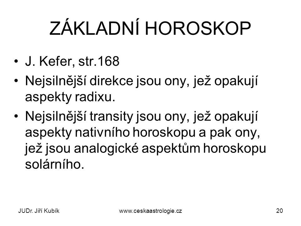 ZÁKLADNÍ HOROSKOP J. Kefer, str.168