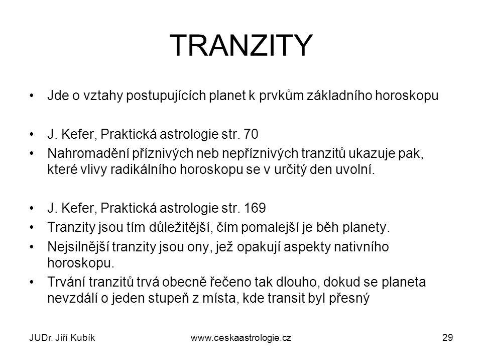 TRANZITY Jde o vztahy postupujících planet k prvkům základního horoskopu. J. Kefer, Praktická astrologie str. 70.