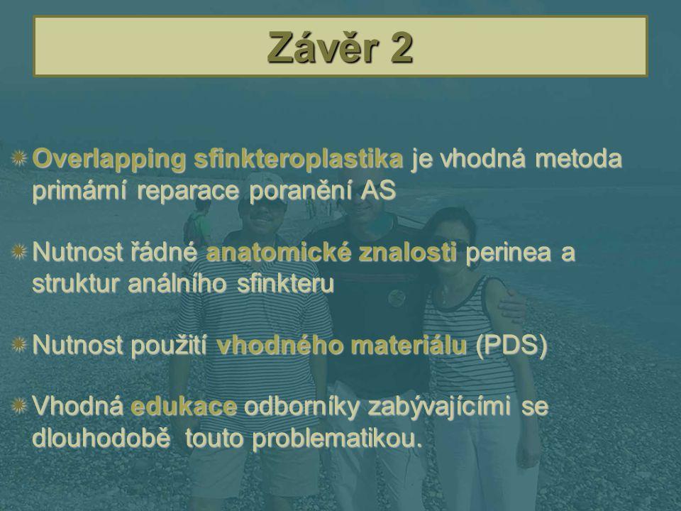 Závěr 2 Overlapping sfinkteroplastika je vhodná metoda primární reparace poranění AS.